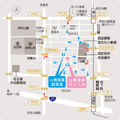 駐車場の位置がわかる地図